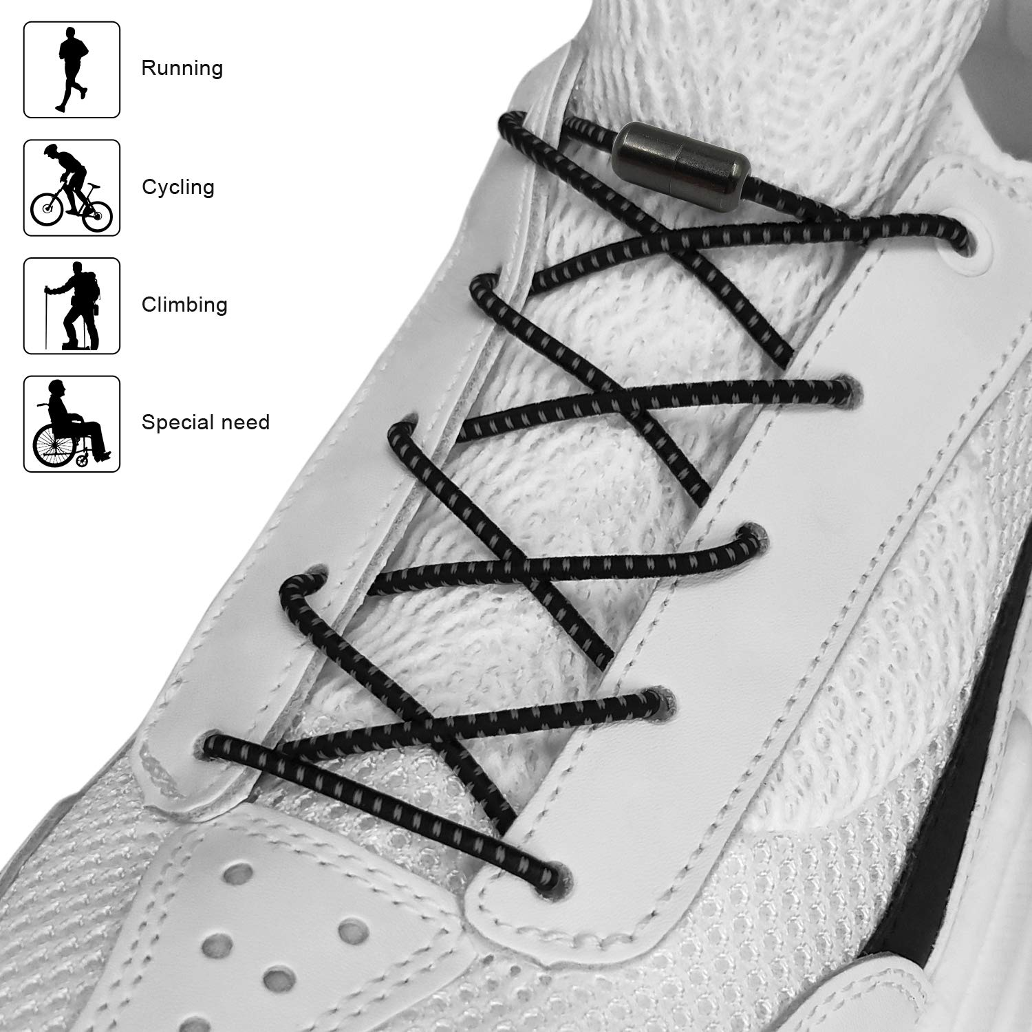 fbf34697110 CalMyotis Elastic Shoe Laces for Kids and Adults, No Tie Shoelaces with  Metal Turnbuckle for