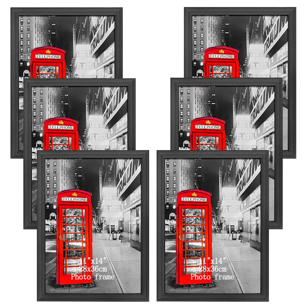 Amazing Roo 6 Pack 11x14 Picture Frame Without Mat to Display Photo 11 x 14 inch Black Wall Mounting and Tabletop Frames