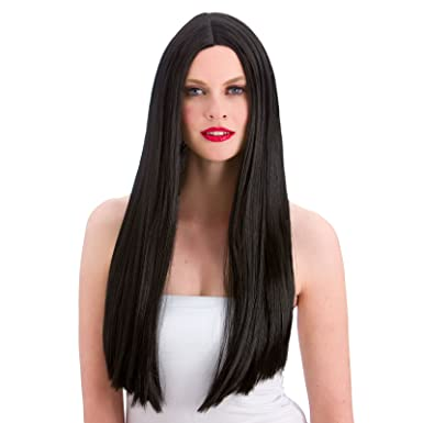 Ladies Wig Classic Long Black Wig Wig for Fancy Dress  Amazon.co.uk   Clothing 8cfaefa3d8