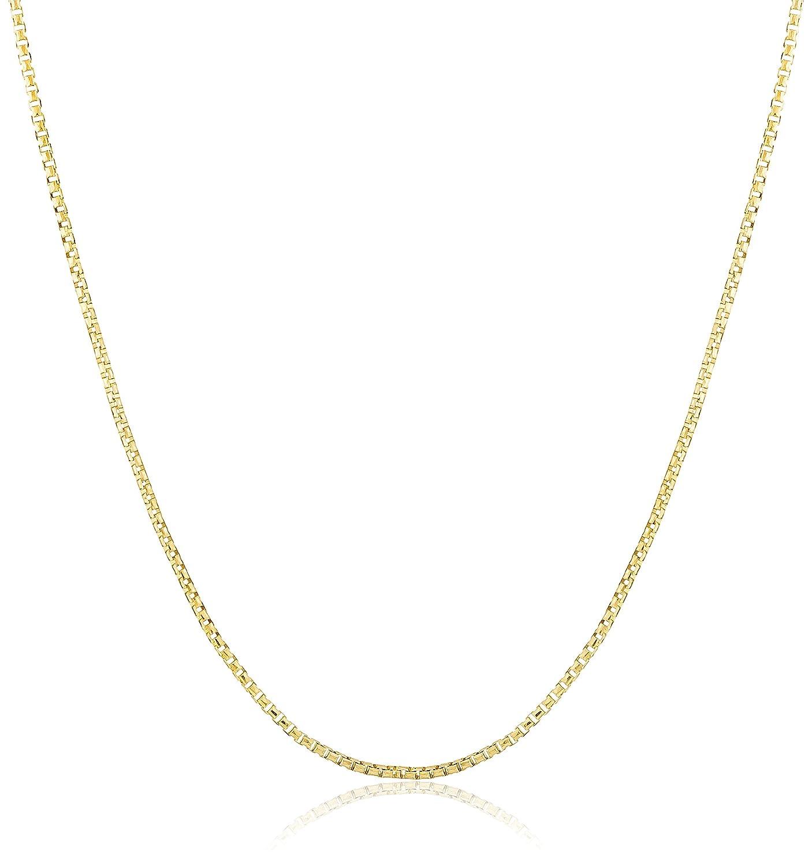 "14k Yellow Gold Italian 0.70mm Round Box Chain Necklace, 16"""