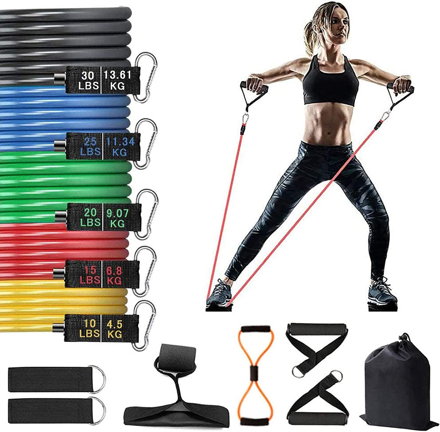 QE Resistance Bands Set Fitness Workout Bands Include Fitness Tubes with Door Anchor, Foam Handle, Ankle Strap, Carry Bag for Home Workouts, Physical Therapy, Gym Training,Yoga
