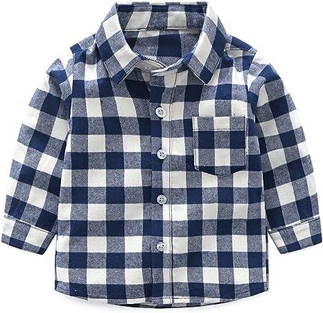 Niños Bebé Camisa de Cuadros Manga Larga Camiseta Algodón Shirt ...