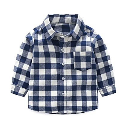 finest selection 64085 1134f Camicia a Quadri Bambini Manica Lunga Magliette Ragazzi ...