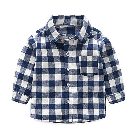 602d8a6d7 Niños Bebé Camisa de Cuadros Manga Larga Camiseta Algodón Shirt Tops Blusa  Azul 2-3
