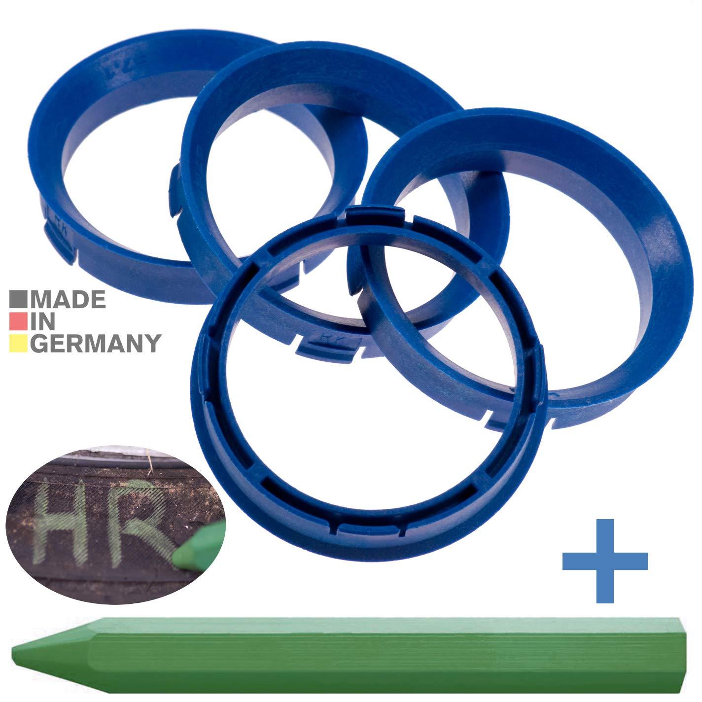 CRK 4X Zentrierringe Blau 66,6 mm x 57,1 mm 1x Reifen Kreide Fett Stift in Gr/ün