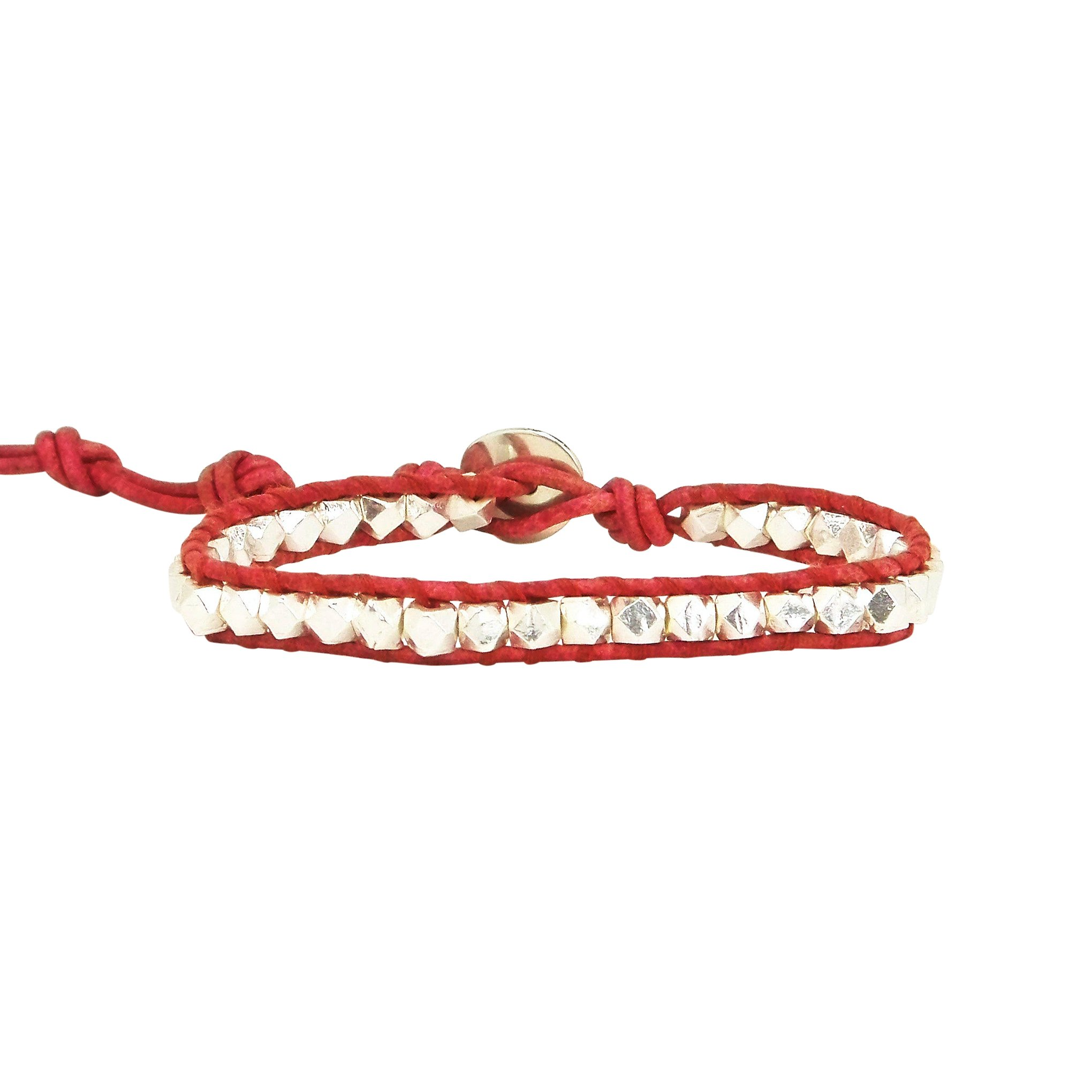 Chan Luu Single Wrap Bracelet in Silver Nuggets and Red Leather