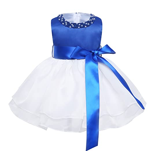 fa092f4c77092 TiaoBug Baby Girl Princess Scoop Neck with Pearls Organza Birthday Party  Baptism Christening Tutu Dress with