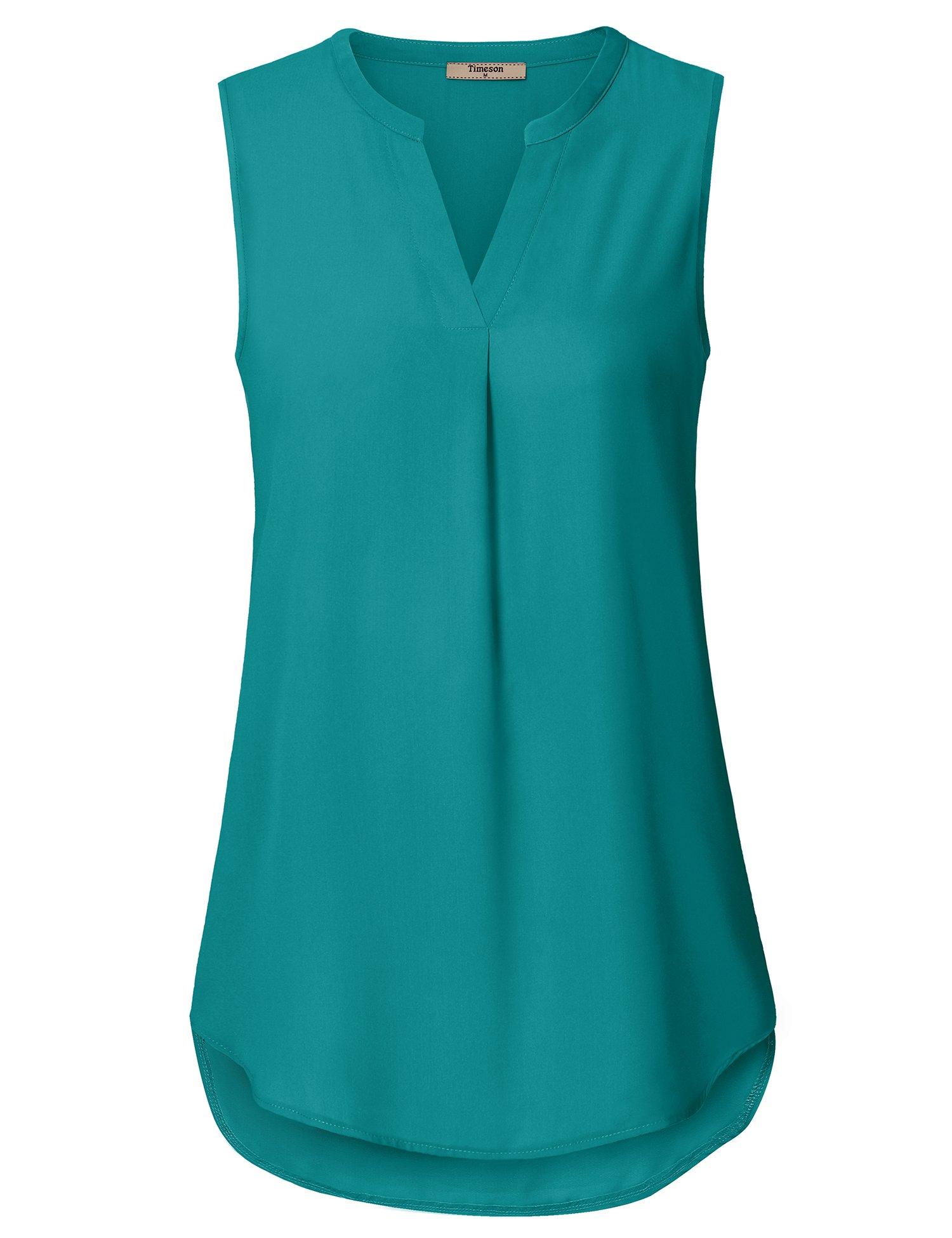 Timeson Sleeveless Tops for Women, Women's Chiffon Tank Tops Long Comfy Summer Casual Business Clothes Fashion A Line Sleeveless Tunics Shirt for Junior Deep Cyan XX-Large