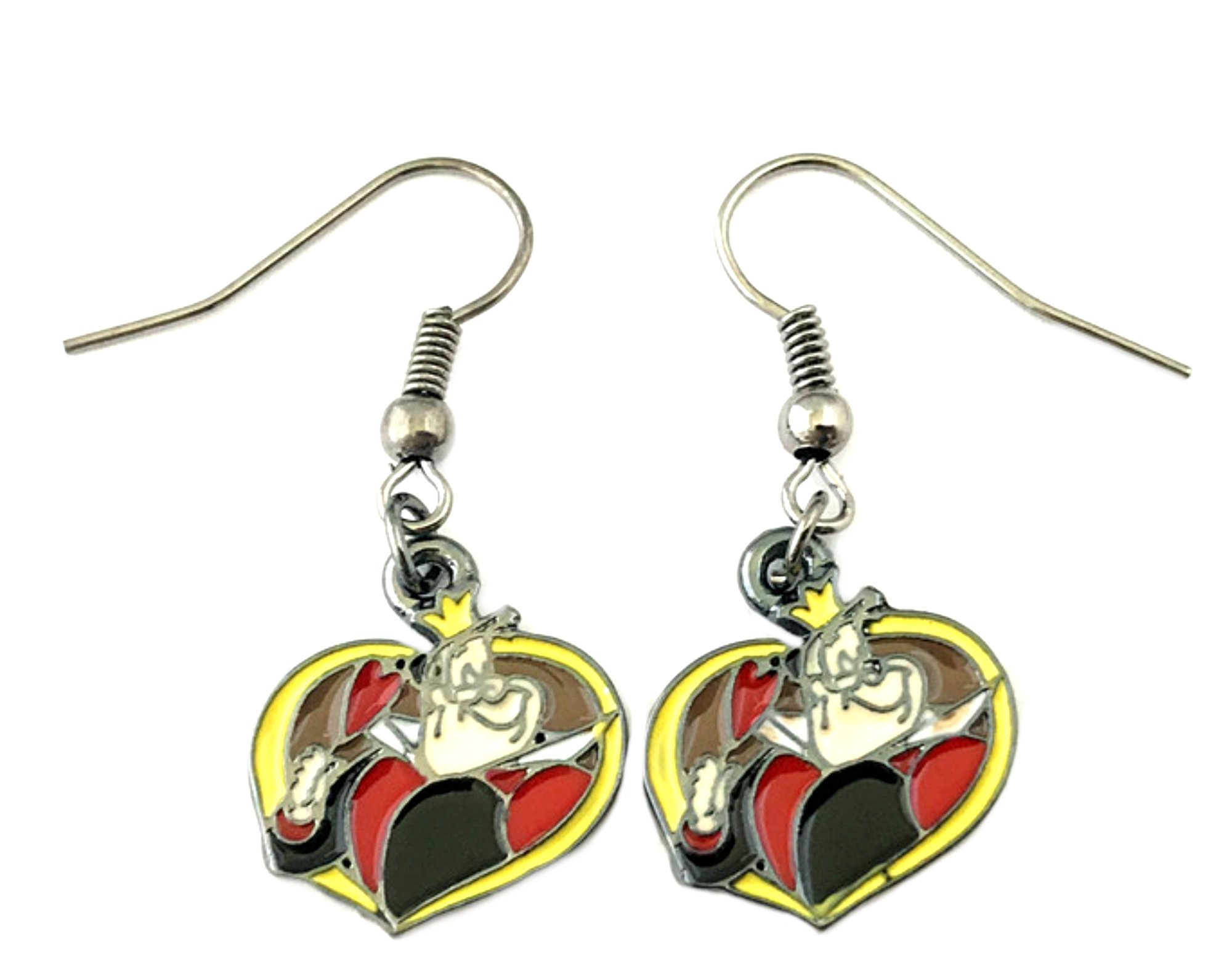 Alice in Wonderland Queen of Hearts Disney Premium Quality Silvertone Dangle Earrings