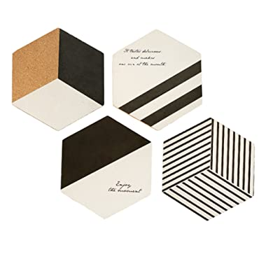 4 Pack Geometric Stripes Black White Quote Words Minimalist Vintage Vintage Simple Hexagon Placemats Coaster Lightweight Stained Wood Coasters Set - Large Size 7 inch