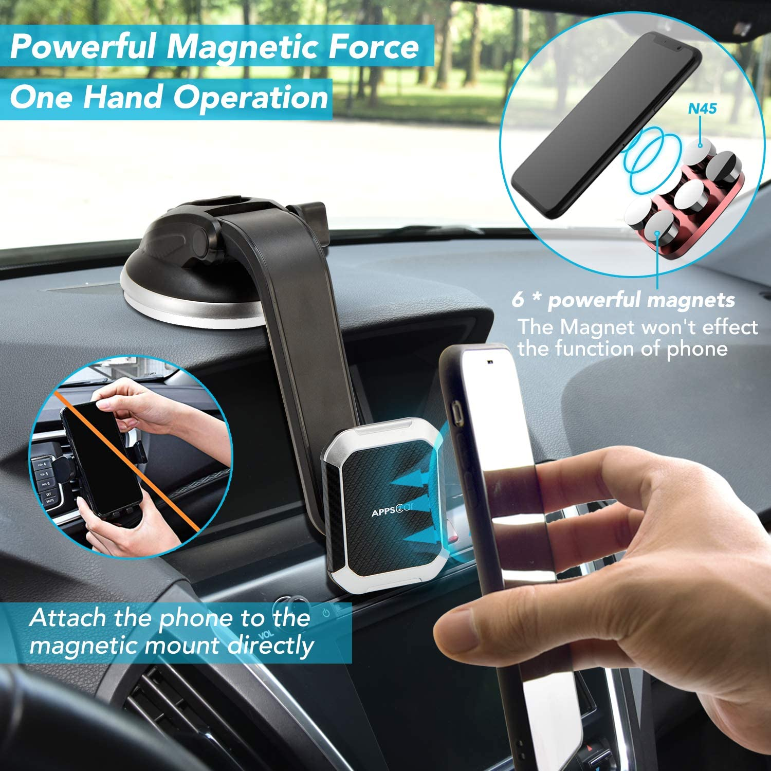 APPS2Car Universal Magnetic Phone Car Mount Built-in Strong Magnets Car Phone Mount Magnetic
