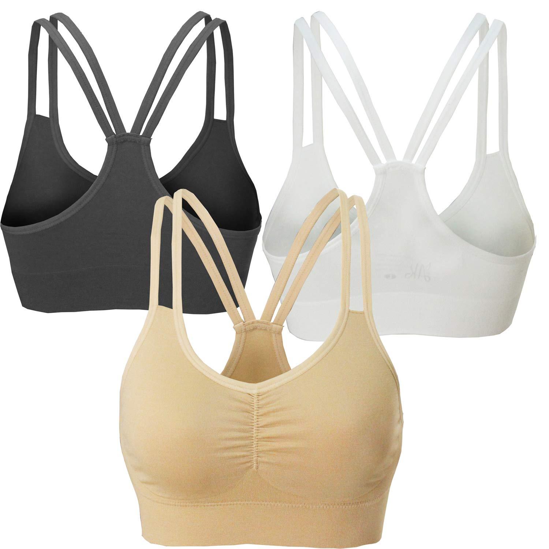 AKAMC Women's Removable Padded Sports Bras Medium Support Workout Yoga Bra 3 Pack Style-KD05,Medium