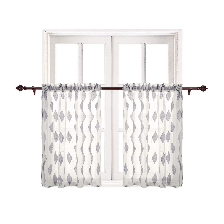 Deconovo Grey Curtains Jacquard Leaf Pattern Sheer Tier Curtains Cafe Tier Window Curtain Set 29 x 36 Inch Grey Leaf 2 Panels