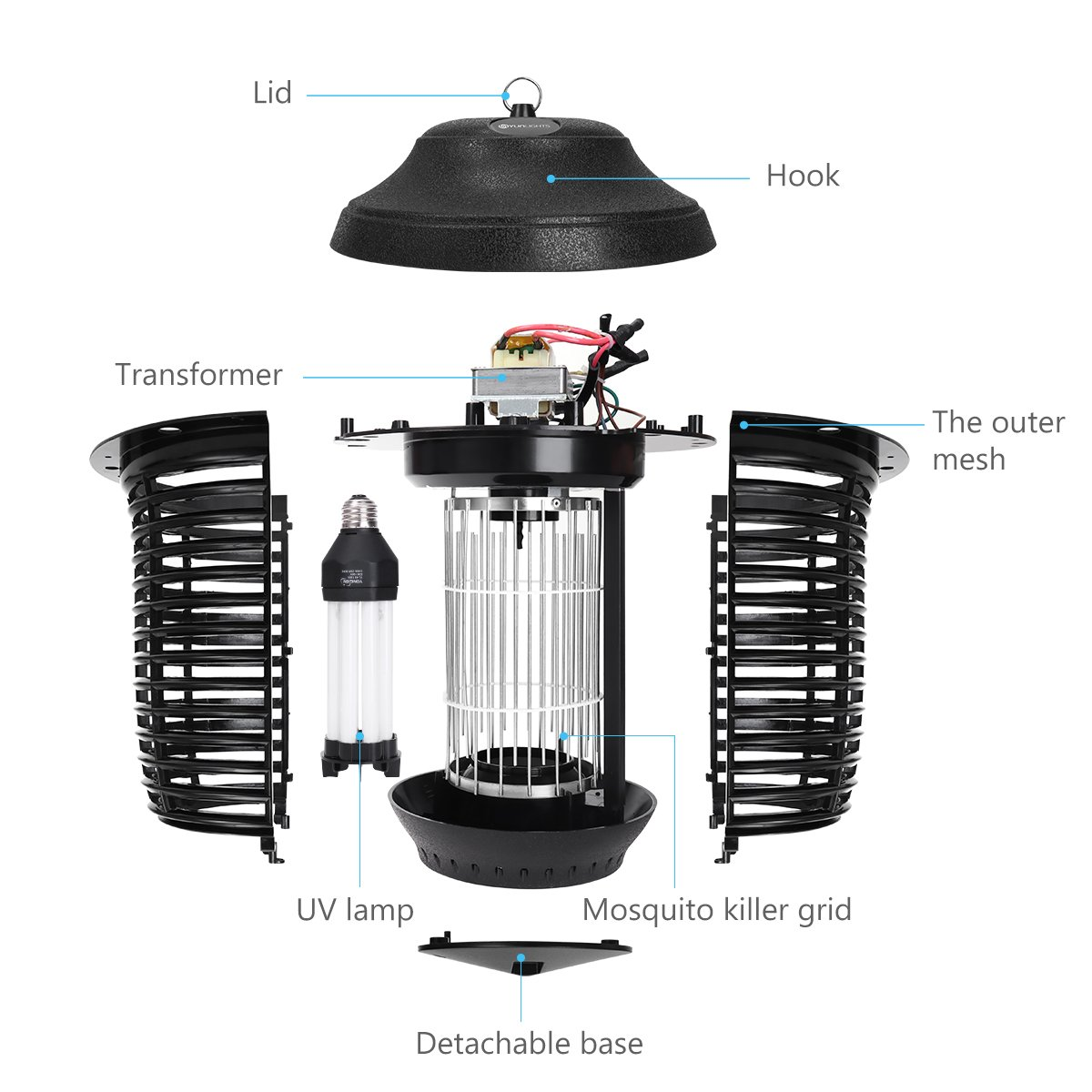 YUNLIGHTS Electric Bug Zapper, 40W Outdoor Mosquito Killer Lantern with Free Hanger, IPX4 Insect Fly Zapper Light for Patio, Gardens, Yards, Pool Area by YUNLIGHTS (Image #8)