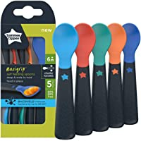 TOMMEE TIPPEE Easy Grip Self-Feeding Baby Spoons, with Bacshield, 5 Count