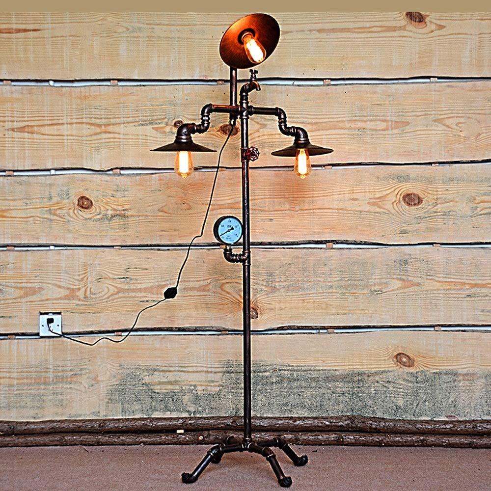 Rishx Amerikanischen Amerikanischen Amerikanischen Wasserpfeifen 3-Light Stehen Tischlampe Industrie Retro Schmiedeeisen Stehleuchte Wohnzimmer Cafe Restaurant Bar Bodenbeleuchtung 90f6f7