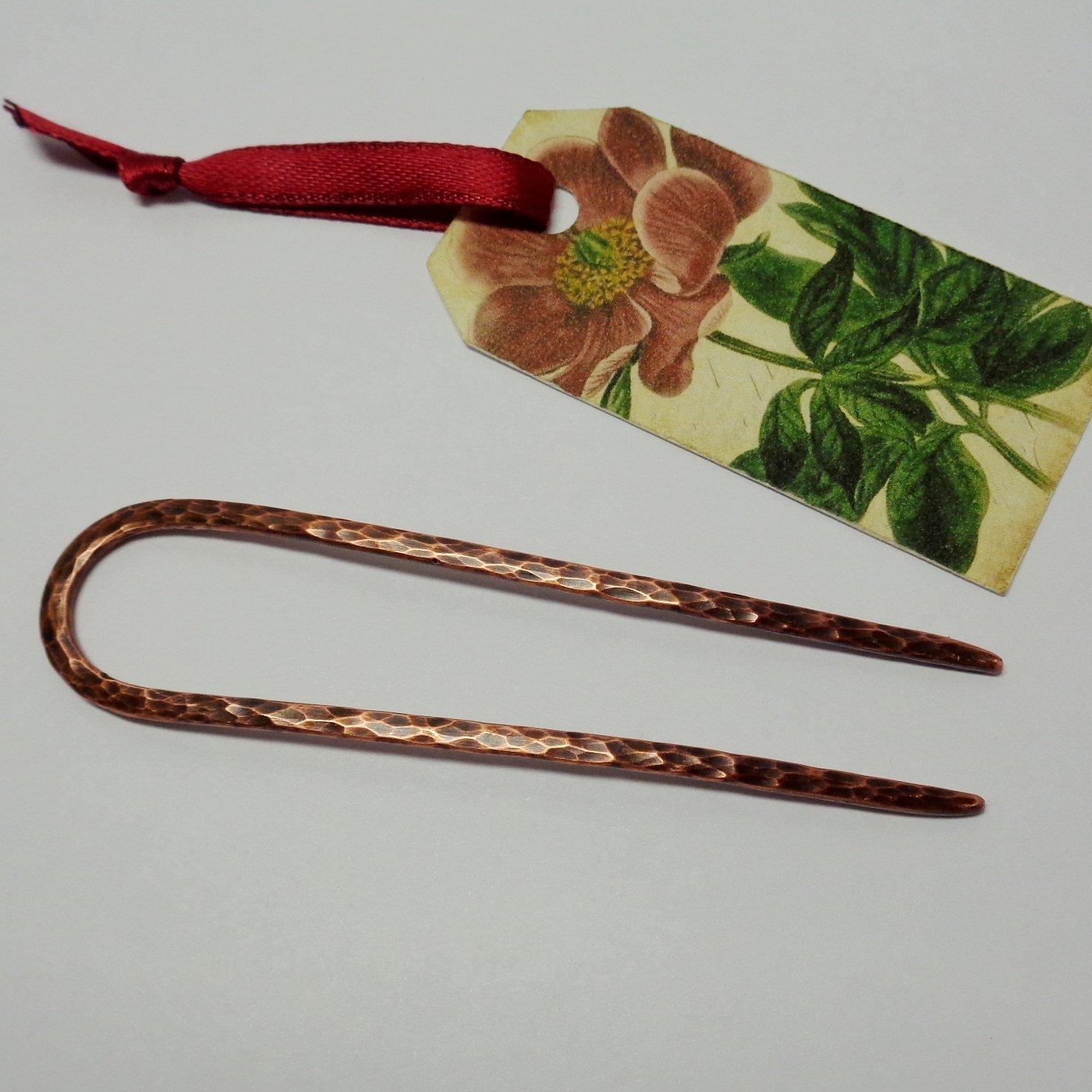 1 Metal Hair Pin for Long Hair, U-shape Hammered Copper Hair Fork, Custom Length, Handmade Boho Style Hair Accessories