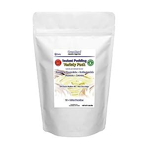 GramZero 5 VARIETY PACK Pudding Mix, 10/16 oz Yield (Makes 40 - 4 oz servings), Stevia Sweetened, SUGAR FREE