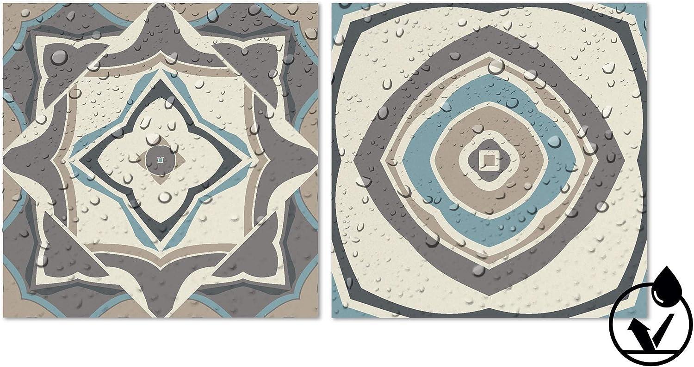 Vinilos Cocina Azulejos Cenefas Azulejos Adhesivas Revestimeinto de Paredes Panorama Azulejos Adhesivos Cocina Ba/ño Pack de 9 Cenefas de Baldosas de 100x10cm Modelo Hidr/áulico Azul