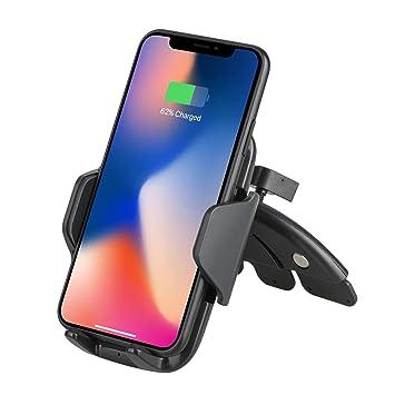 Qi - Cargador de Coche inalámbrico para Samsung Galaxy S9/S9 Plus/S8, Note 8, Carga estándar para iPhone X, 8/8 Plus y Dispositivos habilitados para ...