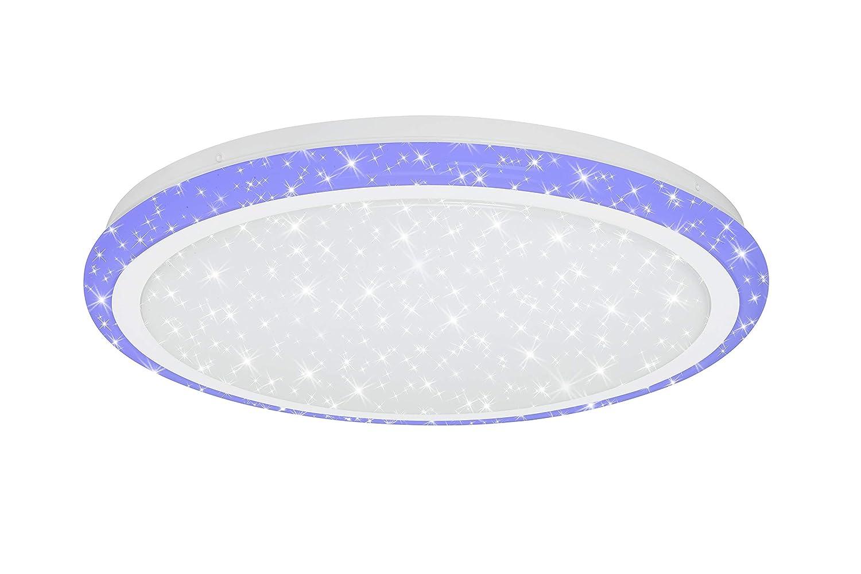 Farbtemperatursteuerung Briloner Leuchten LED Deckenleuchte mit Sternendekor Metall dimmbar Nachtlichtfunktion Fernbedienung 24 W 1800 Lumen Deckenlampe 24W Wei/ß /Ø 41cm