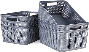 CRZDEAL Plastic Storage Baskets Dark Gray, Plastic Woven Baskets Set of 6, Plastic Storage Trays Baskets for Organizing Home Kitchen Bedroom Bathroom Office Study