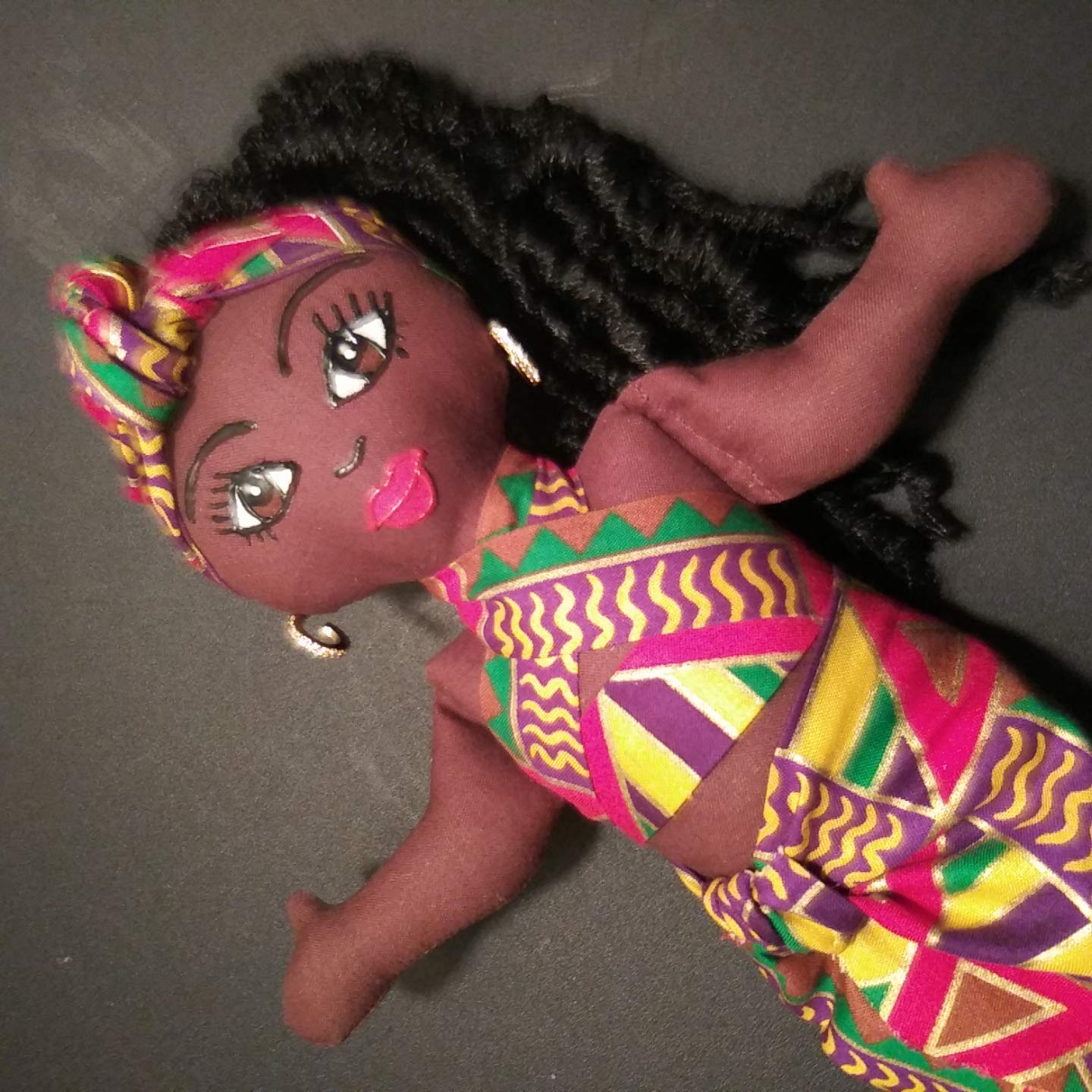 Hand Painted Handcrafted African American Doll Head Wrap Ethnic Doll 14 inch Doll Collectible Doll Black Doll Natural Hair Styles African Inspired Black Doll Maker Multicultural Doll