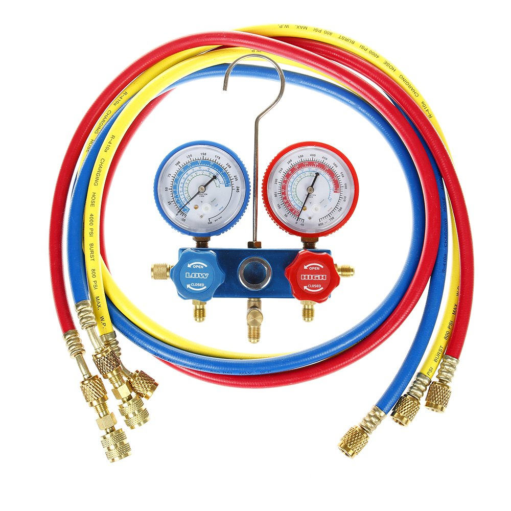 Flexzion Ac Refrigerant Manifold Gauges HVAC Air Conditioning Charging Service Set PSI Kit Halogen Diagnostic Tool for R22 R410a R404a with Three 60'' Hoses in Red Blue Yellow