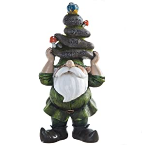 Ivy Home Outdoor Decorative Garden Statue,Gnome Held Stones with His Head