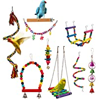 Bird Parrot Toy Hanging Bell Pet Cage Swing Toy Wooden Stand Perch Chewing Toy Bridge Ladder Spiral Rope for Parakeets…