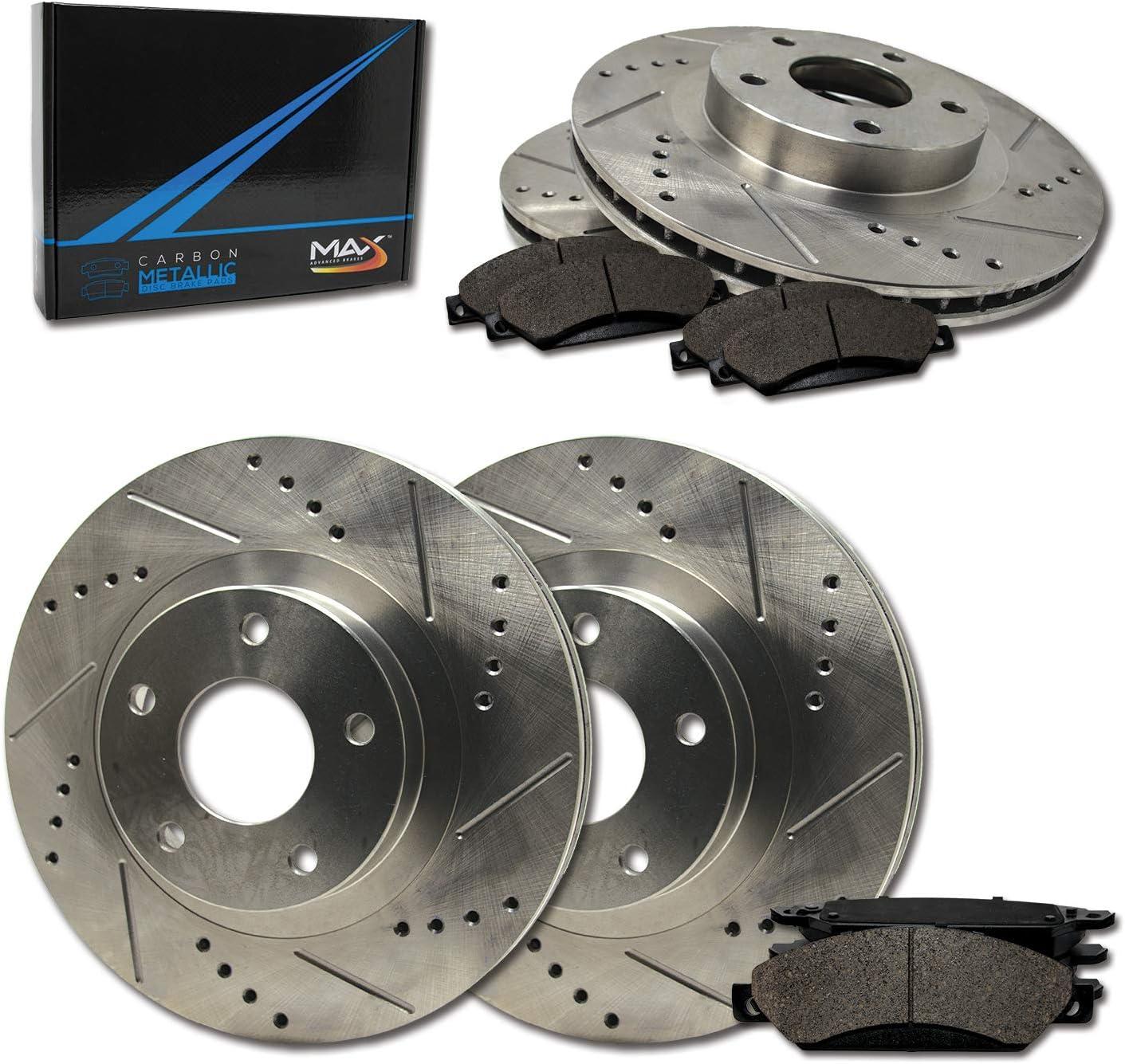 TA078233 Fits: 2013 13 Chevy Silverado 1500 2WD//4WD Models Premium Slotted Drilled Rotors + Metallic Pads Max Brakes Front /& Rear Performance Brake Kit