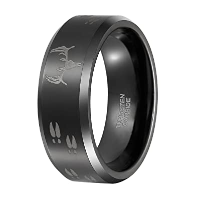 f26a8442b0a04 Shuremaster 8mm Black Etched Deer Head Tungsten Carbide Wedding Band Men's  Hunting Ring Size 6-15