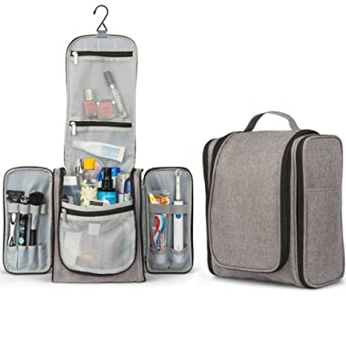 TravelMore Large Hanging Toiletry Bag Travel Cosmetic Kit - Large Essentials Organizer - Sturdy Hook Makeup Bag - Heavy Duty Waterproof (Gray)
