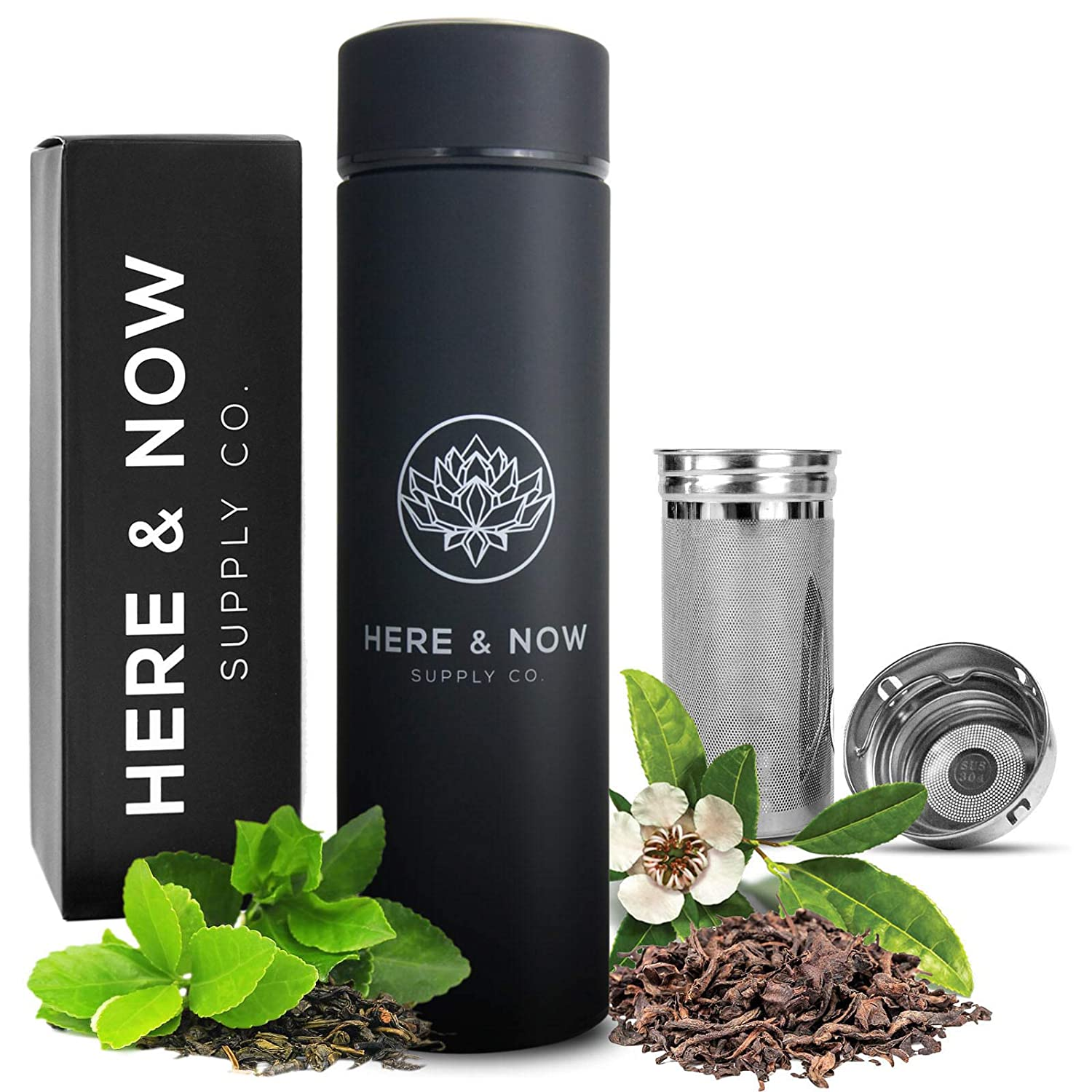 Multi-Purpose Travel Mug and Tumbler | Tea Infuser Water Bottle | Fruit Infused Flask | Hot & Cold Double Wall Stainless Steel Coffee Thermos | EXTRA LONG INFUSER | by Here & Now Supply Co. (Black)