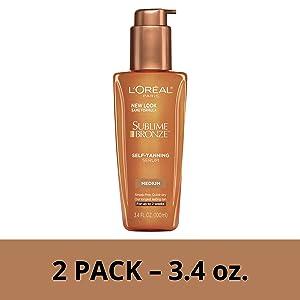 L'Oreal Paris Skin Care Sublime Bronze Self-Tanning Serum, 2 Count