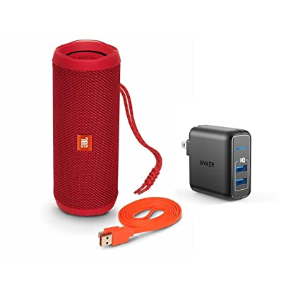 JBL Flip 4 Portable Bluetooth Wireless Speaker Bundle with Dual Port 24W  USB Travel Wall Charger - Red