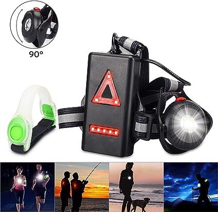 Anecity Lampe de course à pied, angle de faisceau réglable de 90° 500 lumens, lampe de poitrine LED rechargeable par USB, lampe de poche étanche de