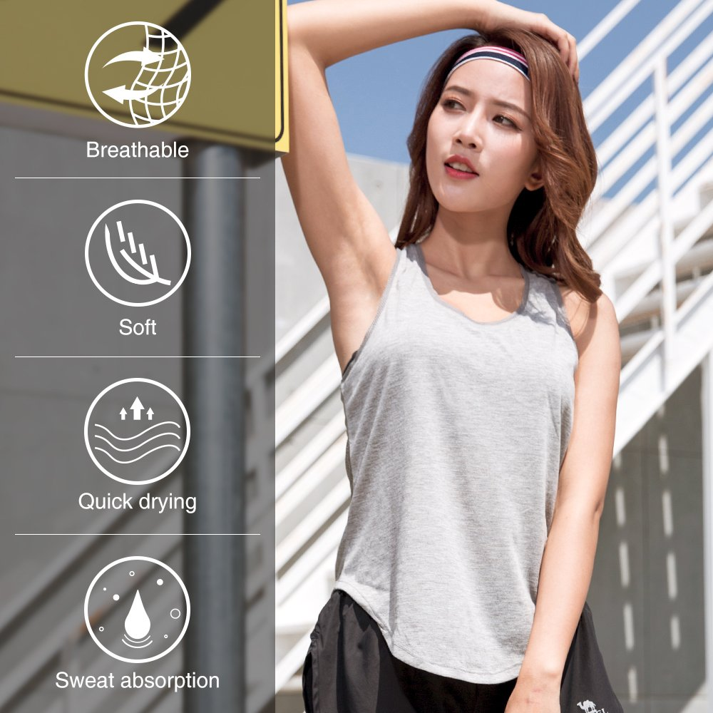 Camel Yoga Workout Tank Tops Women Sleeveless Dry Loose Fit Racerback Activewear Scallop Bottom Color Grey Size L