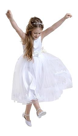Lacey Bell Vestito Bambina Prima Comunione Damigella Tulle Gonna Corpetto  Raso CD-6  Amazon.it  Abbigliamento cf829e1b5ba
