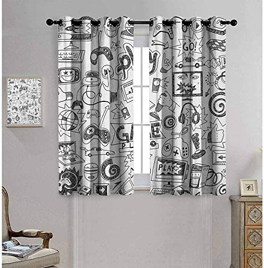 Hengshu Video Games Black Out Window Curtain 2 Panel Monochrome Sketch Style Gaming Design Racing Monitor Device Gadget Teen 90s Living Room Curtains For Bedroom W84 X L96 Inch Black White Amazon Co Uk
