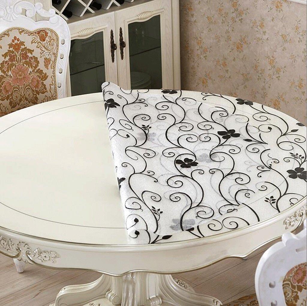 Jingdian fzw Runde Tischdecken weichen Plastiktischdecken Wasserdichte transparente runde runde runde Tischdecke Kristallplattentischdecken (Farbe   H, größe   Round 140cm) a4cbd8