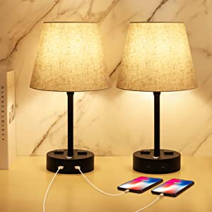 Table Lamps for Bedrooms Set of 2, Dimmable Nightstand Lamp, 3 Way Touch Control Bedside Lamp with USB Port and Outlet, USB Lamp Fabric Shade for Living Room Office E26 ST64 LED Bulb Included 2 Pack