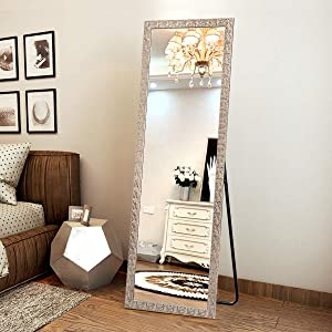 """OGCAU Fashion Full Length Mirror, Floor Mirror with Stand, Full Body Mirror, Large Mirror, Mosaic Style Wall-Mounted Mirror for Bedroom, Living Room, Dressing Room - Champagne 65"""" x22"""""""