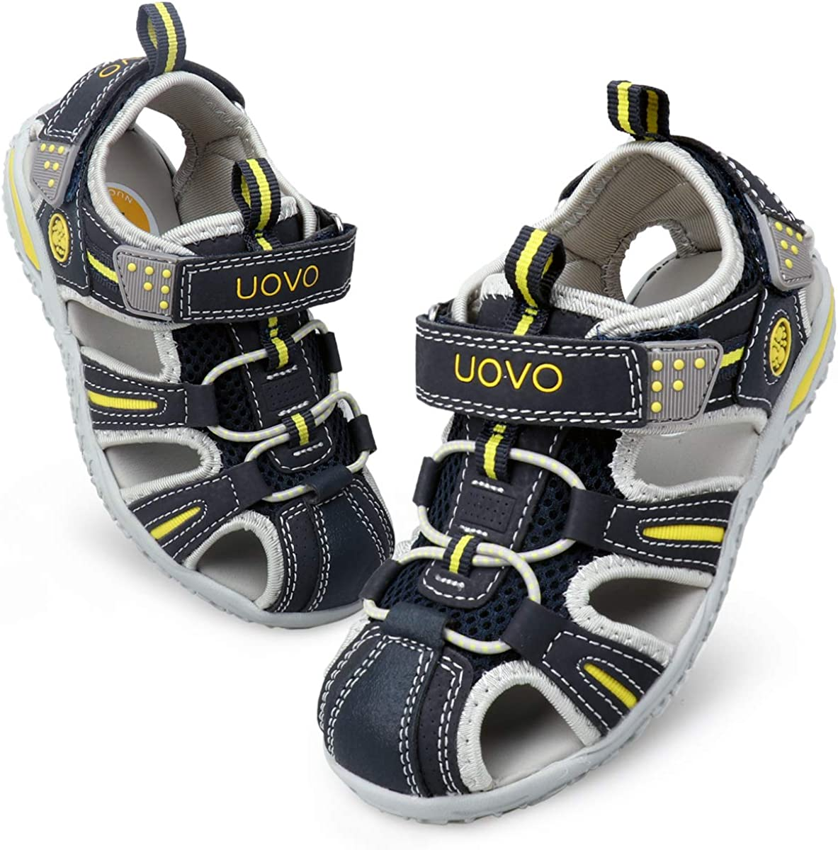 UOVO Boys Sandals Kids Sandals Hiking Athletic Closed-Toe Beach Summer Sandals for Boys Quick-Drying Slip Resistant