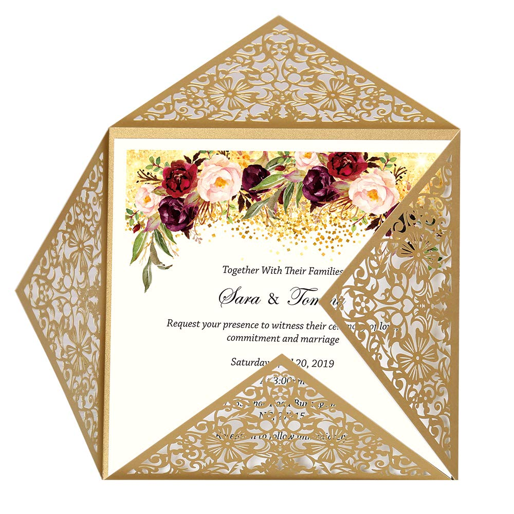 Doris Home Square Gold Laser Cut Lace Flower Pattern Wedding Invitations Cards 100pcs