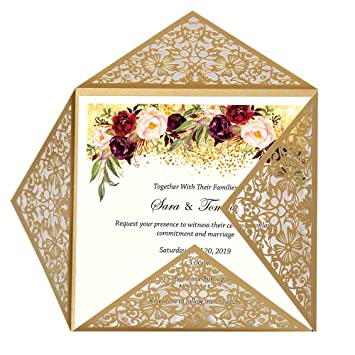 Doris Home Wedding Invitations Wedding Invites Invitations Cards Wedding Invitations Kit Square Gold Laser Cut Lace Flower Pattern Invitation 1 Piece
