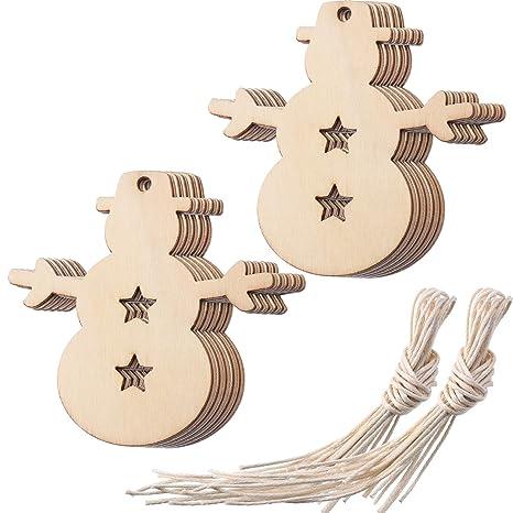 Amazon Com Tatuo Wooden Snowman Christmas Ornaments Cutouts