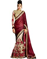 Active Women's Lycra & Net Fabric Embroidered Lace Border Half & Half Saree