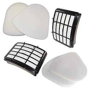 HQRP 2-Pack Filter Kit for Shark Navigator NV360 NV361 NV360_26 NV360K NV360NZ NV361BK NV361PR Lift-Away Deluxe Upright Vacuum Cleaner (HEPA+ Foam & Felt) Coaster