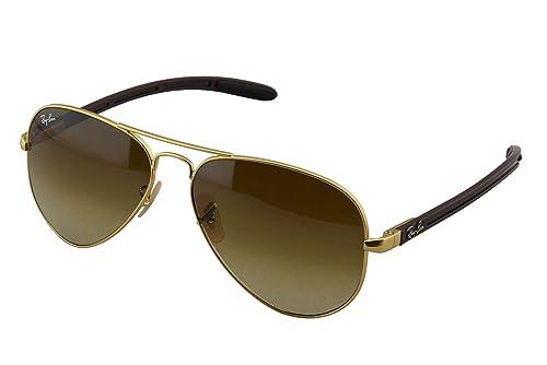 b6a6d4bbe41 Ray-Ban Men s RB8307-029 71 Aviator Carbon Fibre Oval Sunglasses ...